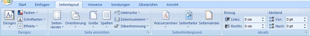 Seitenlayout einrichten in Word 2007
