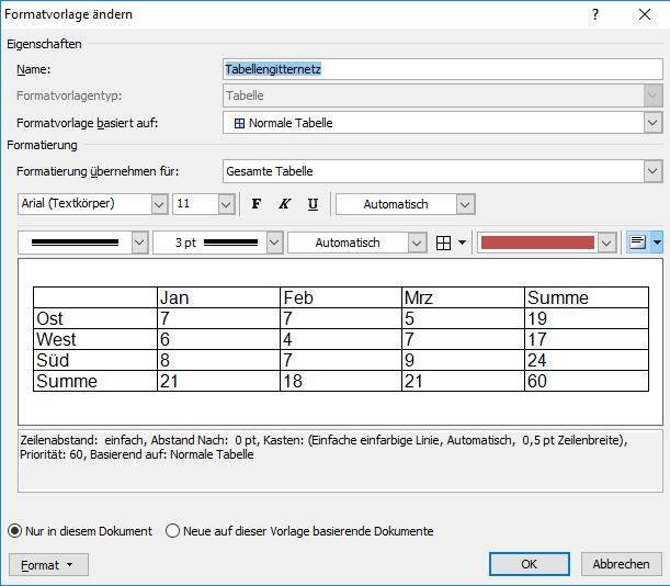 In Word Tabellenformatvorlagen ändern