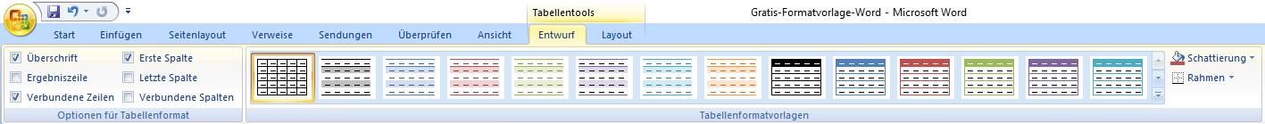 In Word Tabellen gestalten