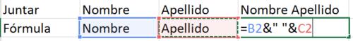 Juntar nombres Excel