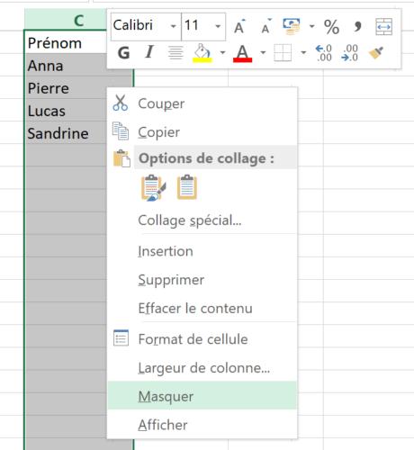 Masquer afficher lignes colonnes Excel