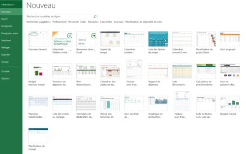 Modeles dans Excel