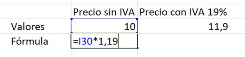 Precio bruto del precio neto Excel