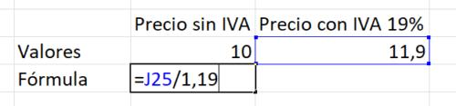 Precio neto del precio bruto Excel