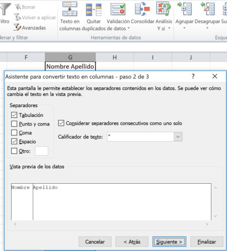 Separar nombre apellido Excel