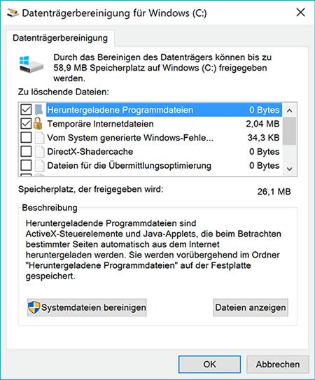 Windows-Update-Troubleshooting-Datenträgerbereinigung