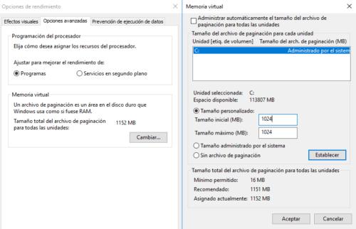 Efectos visuales Windows
