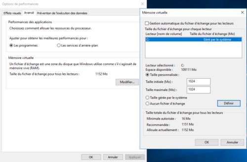 Mémoire virtuelle Windows