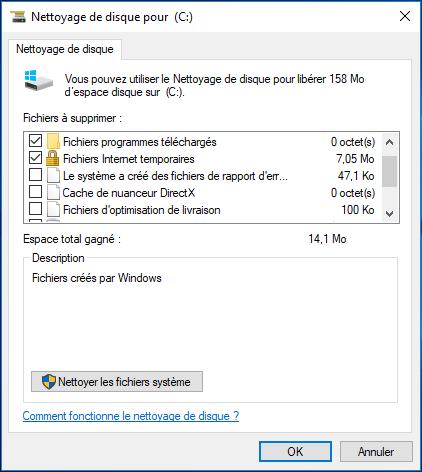 Nettoyage de disque Windows