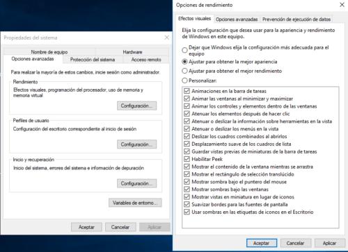 Opciones rendimiento Windows