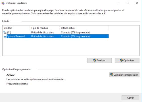 Optimizar unidades Windows