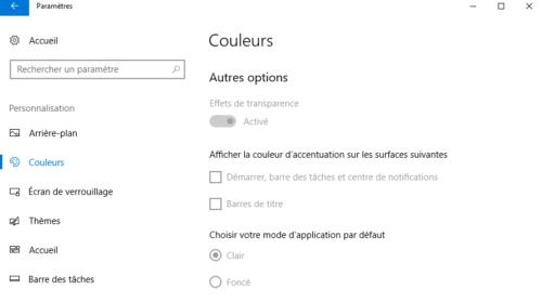 Options des couleurs Windows