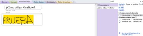 Funcion de busqueda Onenote